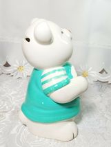 Vintage Teddy Bear Bank Figurine White Heart Hand Painted Ceramic image 4