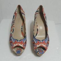 Women's Nine West Cheerful 70 Cork Wedge Peep Toe  7.5M Canvas Stripe Swirl - $18.86