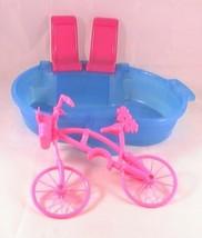 Mattel Barbie Pink Basket Bicycle and Barbie Glam Pool - $16.60