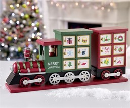 "16.5""  Long Advent Christmas Calendar Train Red & Green with 24 Decorative Boxes"