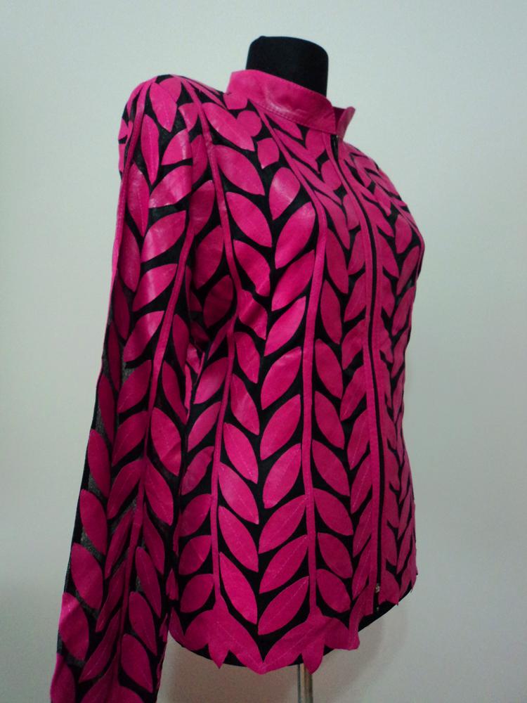 Pink Leather Leaf Jacket Women All Colors Sizes Genuine Lambskin Zip Short D4