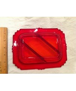 Great Bright Ruby Red Clear Divided Glass Tray Snack Serving Dish Plate ... - $18.95