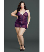 RUCHED SHEER ZIP FRONT CHEMISE DRESS MATCHING G STRING SET PLUM PLUS SIZE - $29.39