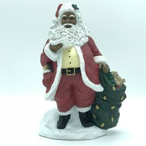 African American Santa Claus Holding Bag of Gifts Checking His List Figu... - $36.41
