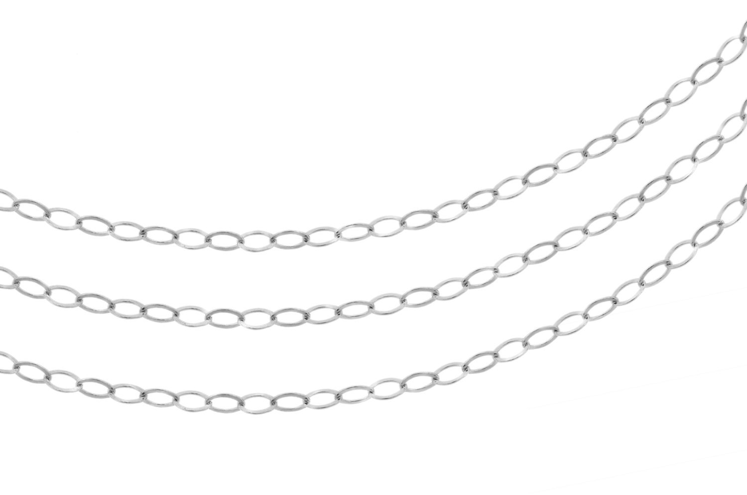 Primary image for Chains, Flat Cable Chain, Sterling Silver, 2.2x1.7mm, Pkg Of 20ft (2353-20)/1