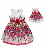 Girl 12 and Doll Matching Fancy Floral Easter Summer Party Dress America... - $32.99