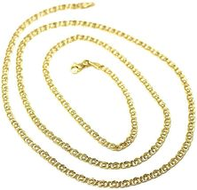 """18K YELLOW GOLD CHAIN TYGER EYE LINKS THICKNESS 3mm, 0.12"""" LENGTH 60cm, 23.6""""  image 4"""