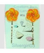 FUN Hand Created OOAK Bobby Pins Orange Flowers - $5.49