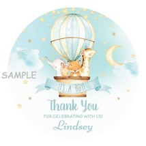 """12 Boy Baby Shower Stickers Favors Labels tags 2.5"""" moon stars animals b... - $8.99"""