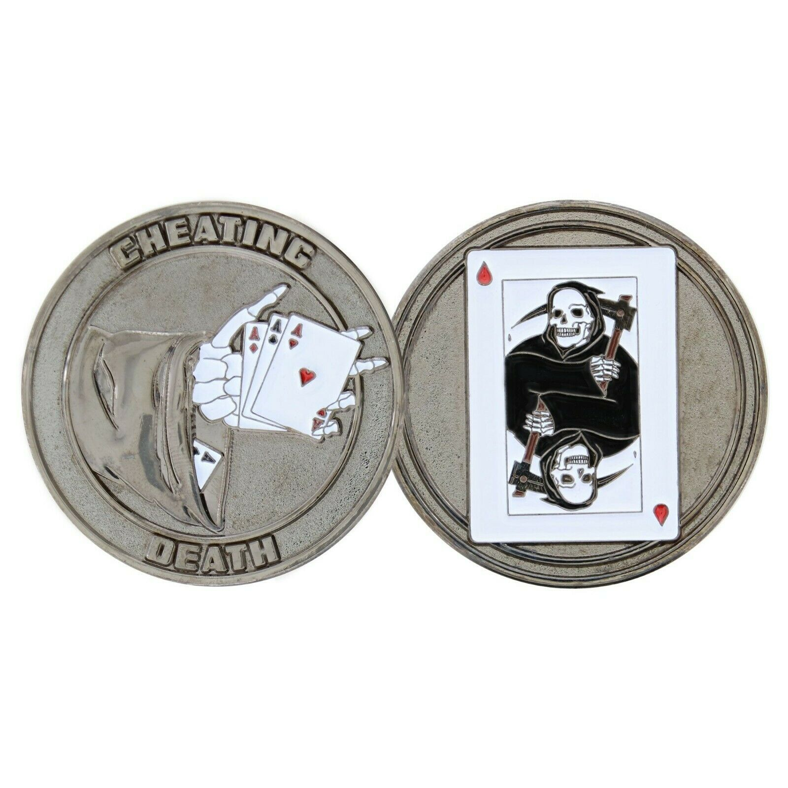 "CHEATING DEATH 1.75"" CHALLENGE COIN"