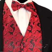 BLACK RED XS to 6XL Paisley Tuxedo Suit Dress Vest Waistcoat & Bow tie Wedding - $20.77+