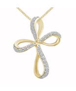 14K Yellow Gold Finish 0.91 Ct Round Cut Diamond Twisted Religious Cross... - $81.99