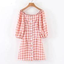 Women's Trendy Pink Checkered Casual Contour Sundress image 5