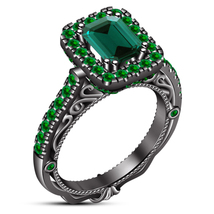 1.10Ct Emerald-Cut Sapphire Halo Bridal Engagement Ring Solid 14K Black ... - $87.99
