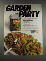 1991 Del Monte Cut Green Beens Ad - recipe for Colorful Vegetable Saute - $14.99
