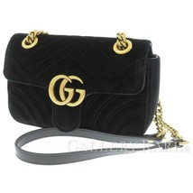 GUCCI Chain Shoulder Bag Velvet Black Heart GG Marmont 446744 Italy Auth... - $1,096.56