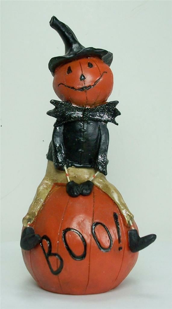 Primary image for New Jolly Pumpkin Man Figurine Sitting on a Boo Pumpkin