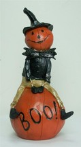 New Jolly Pumpkin Man Figurine Sitting on a Boo Pumpkin - $17.77