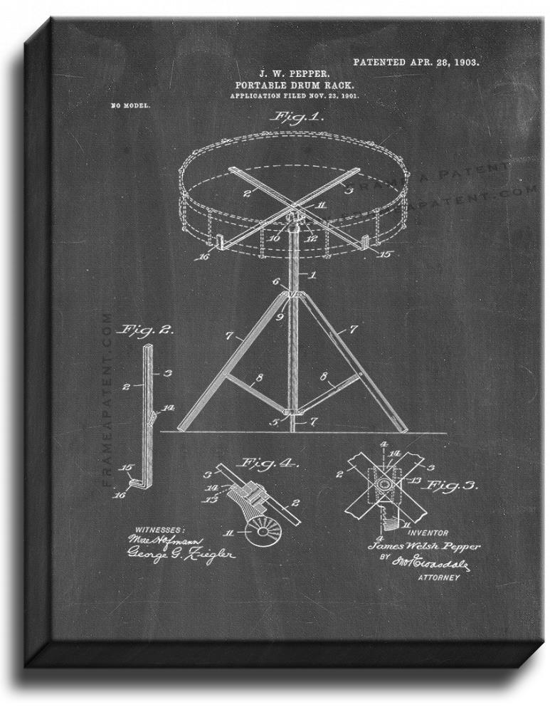 Primary image for Portable Drum-rack Patent Print Chalkboard on Canvas