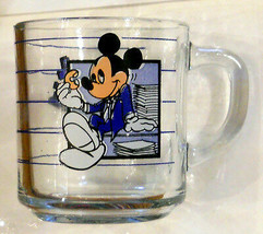 "Walt Disney Glass Coffee Mug Mickey Mouse With Doughnut - ""Break Time"" Cup - $19.75"