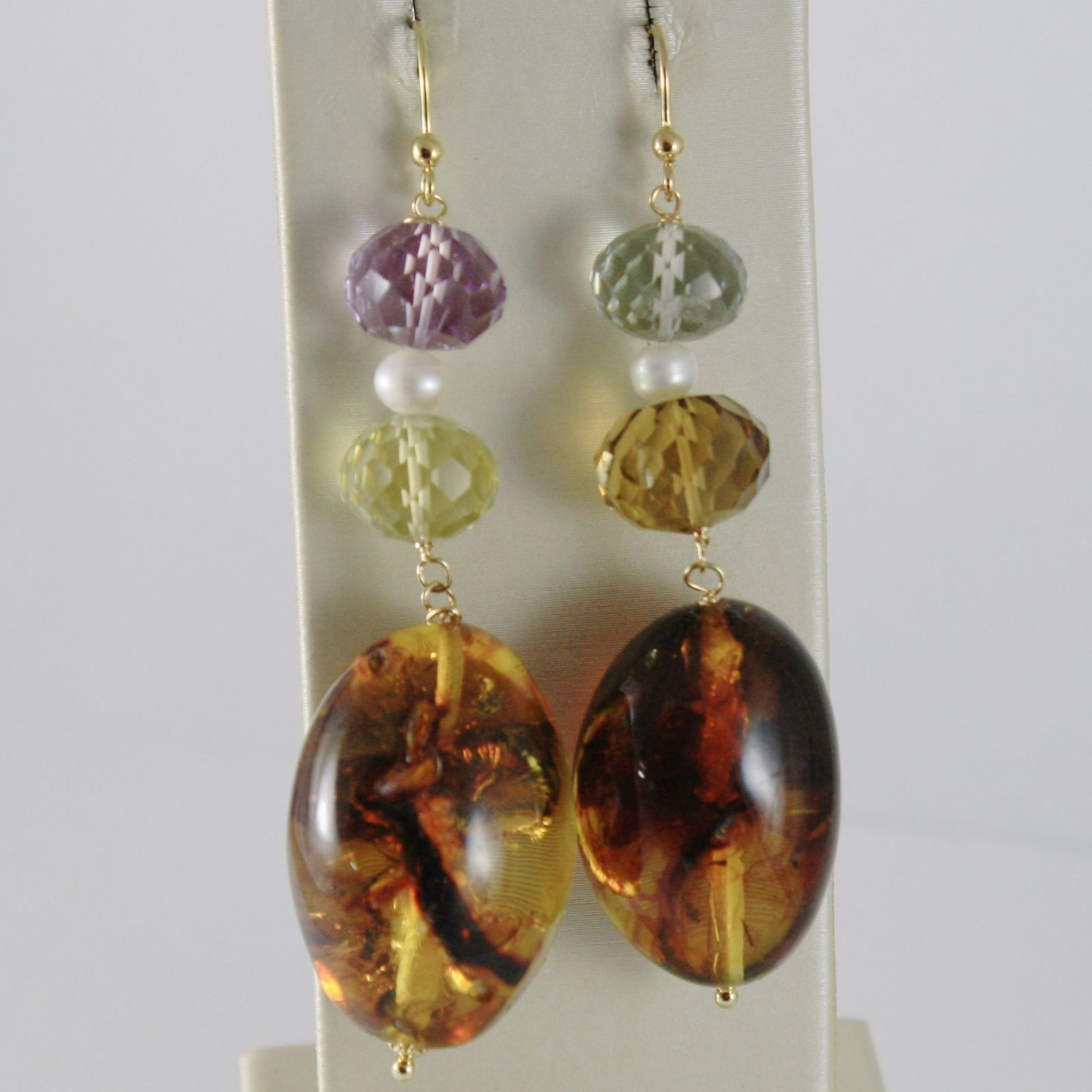 18K YELLOW GOLD PENDANT EARRINGS AMBER AMETHYST LEMON QUARTZ CITRINE PRASIOLITE