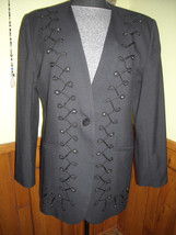 Women's Executive Collection Black Dress Jacket With Embroidery & Rhines... - $75.00