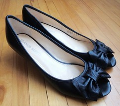 Franco Sarto Ricardo Womens 11.5 Black Leather Bow Peep Toe Kitten Heels... - $29.02