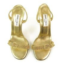 Authentic Jimmy Choo Gold w/ Crystals & Buckle Slingback Leather Sandals -Sz37.5 image 6