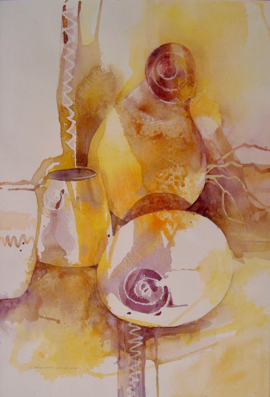 CA Artist Charlotte Valestra Still Life Watercolor Painting Signed 01620