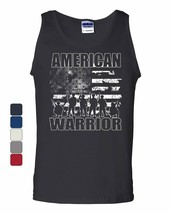American Warrior Tank Top Support Our Troops American Flag Sleeveless - $12.95+