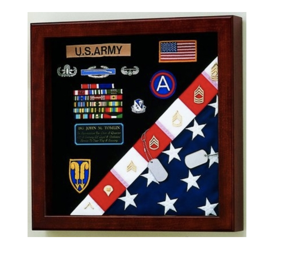 Primary image for AMERICAN MADE CASKET FLAG AND BADGE MEDALS MILITARY DISPLAY CASE SHADOW BOX