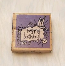 "Happy Birthday! Cake Candles Wood Mounted Rubber Stamp 2"" × 2"" Vap! Scrap - $2.92"