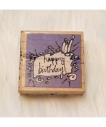 """Happy Birthday! Cake Candles Wood Mounted Rubber Stamp 2"""" × 2"""" Vap! Scrap - $2.92"""