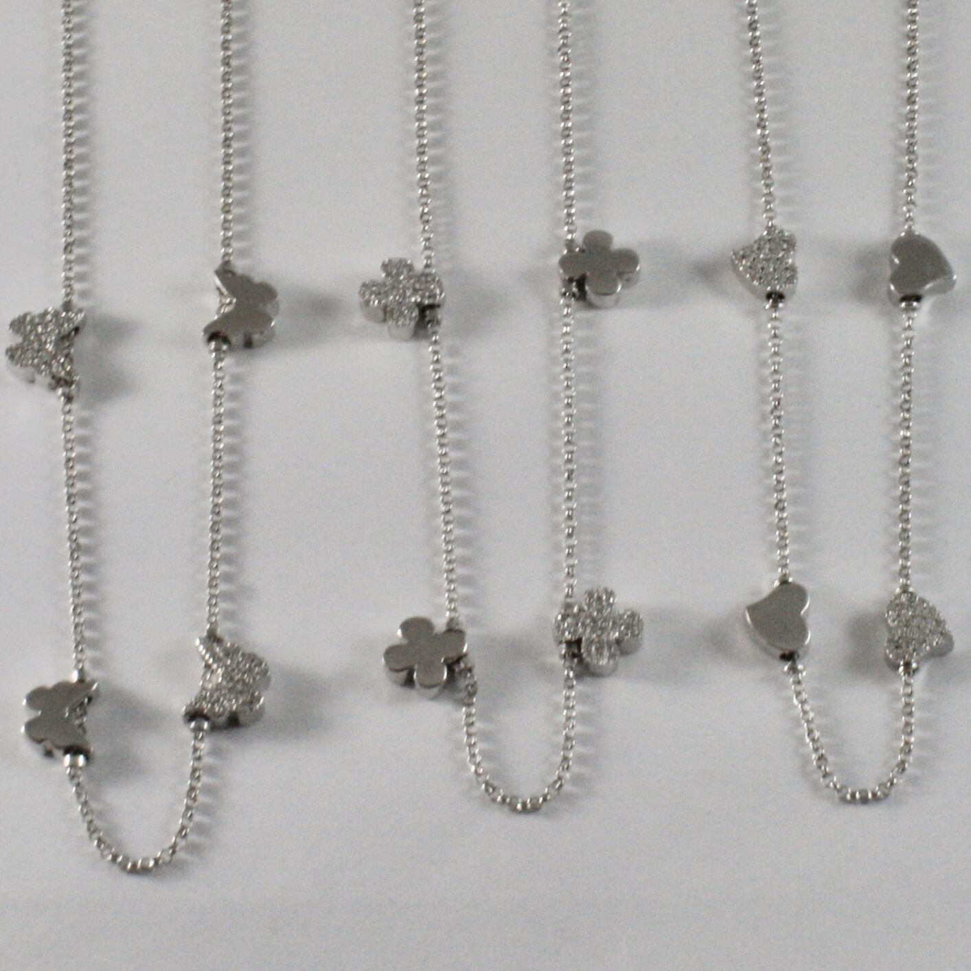 925 Sterling Silver Necklace Jack&co with Four-Leaf Clover Heart & Butterfly