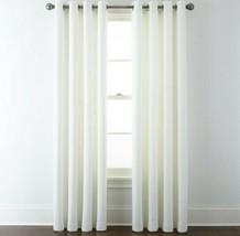 (1) JCPenney Liz Claiborne Quinn COOL WHITE Basketweave Grommet Curtain 50 x 84 - $78.39