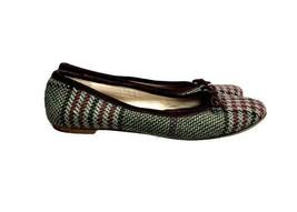 Burberry Plaid Ballet Flats Slip On Shoes Burgundy Green Size 37 EU Womens - $91.99