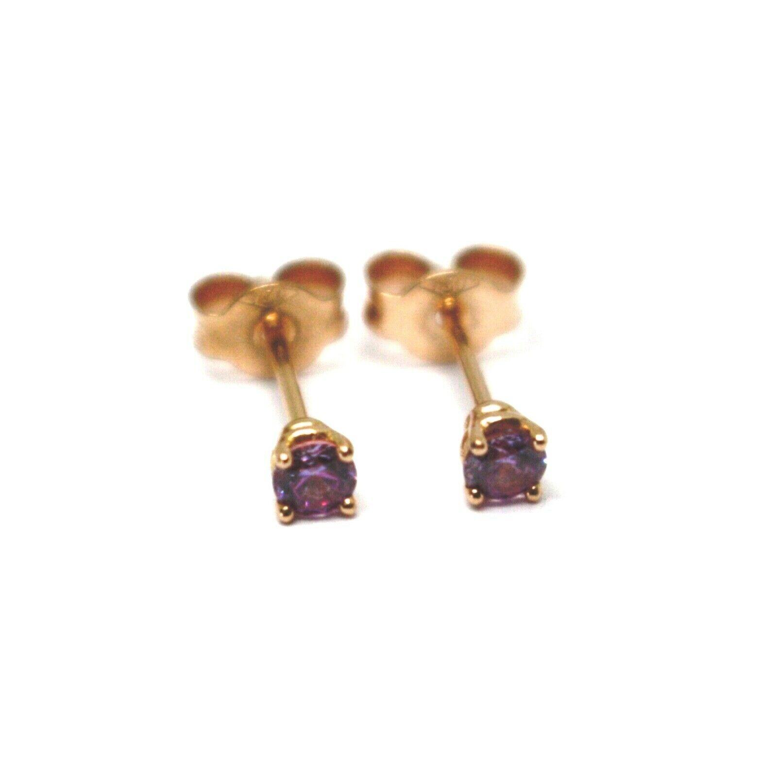 "18K ROSE GOLD MINI BUTTON EARRINGS PURPLE CUBIC ZIRCONIA, DIAMETER 3mm 0.12"""