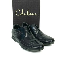 COLE HAAN Bria Stitch Black Leather Sneakers Oxford Shoes Slip On No Lac... - $32.68