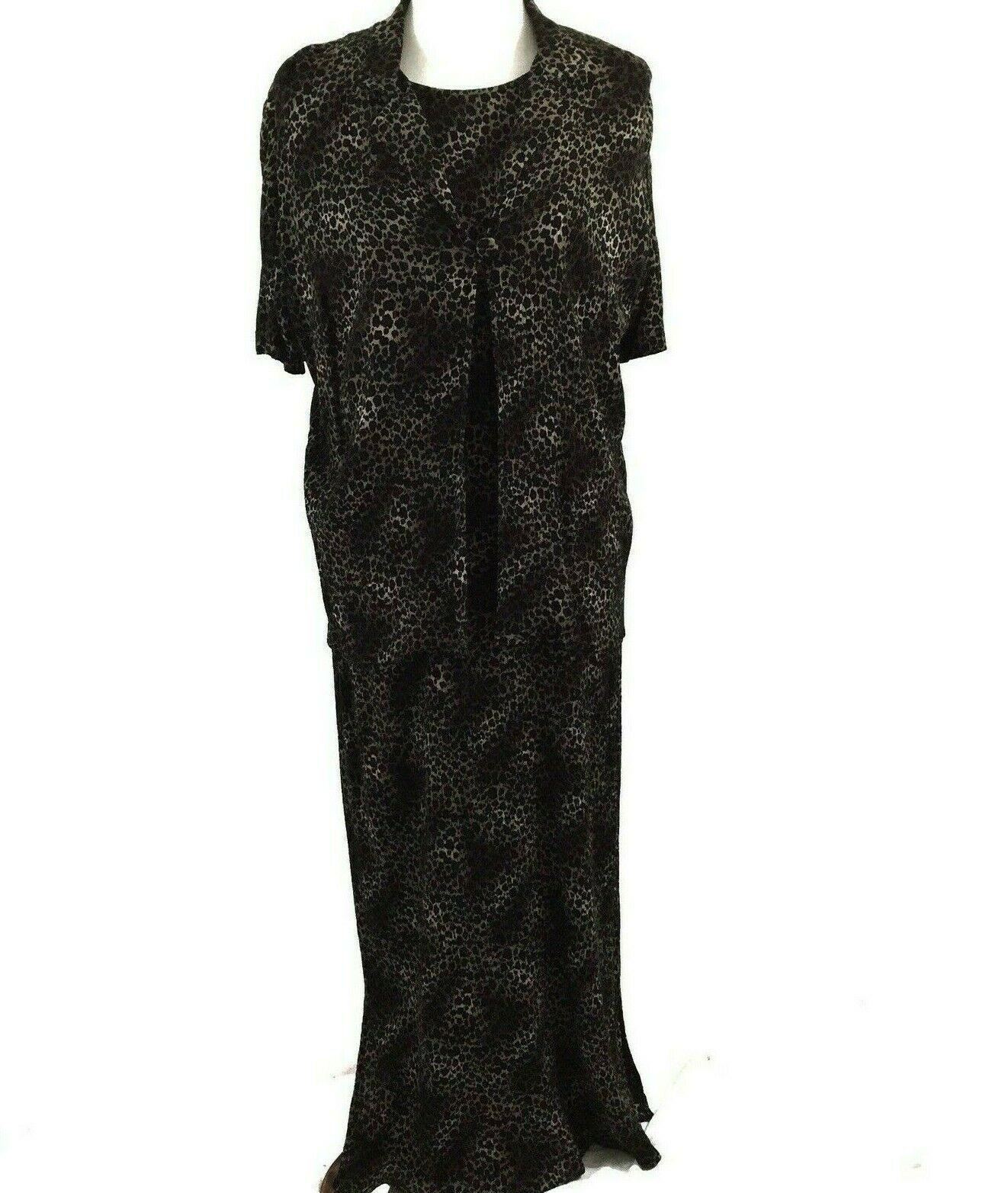 KSL Karin Stevens Sleeveless Maxi Dress and Jacket Size 14W Brown Animal Print