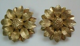 Vintage Sarah Coventry Gold-tone Textured flower Clip-on Earrings Pat. Pend - $23.75