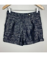 Anthropologie Coquille Shorts 0 Metallic Dress Shorts Navy Gold Cuffed W... - $28.92