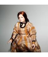 Dollhouse Dressed Lady Doll Erna Meyer 8775 Porcelain Head Plaid Gown Mi... - $149.00
