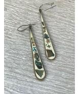 Estate Long Mexico Marked Silver & White Enamel Teardrop w Abalone Inlay... - $14.89