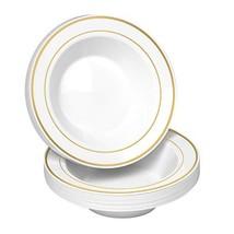 50 Disposable White Gold Trim Plastic Soup Bowls   14 oz. Premium Heavy ... - $30.34