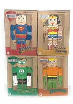DC Wood Warriors Superman Aquaman wonder Green Lantern Poseable Flexible... - $75.24
