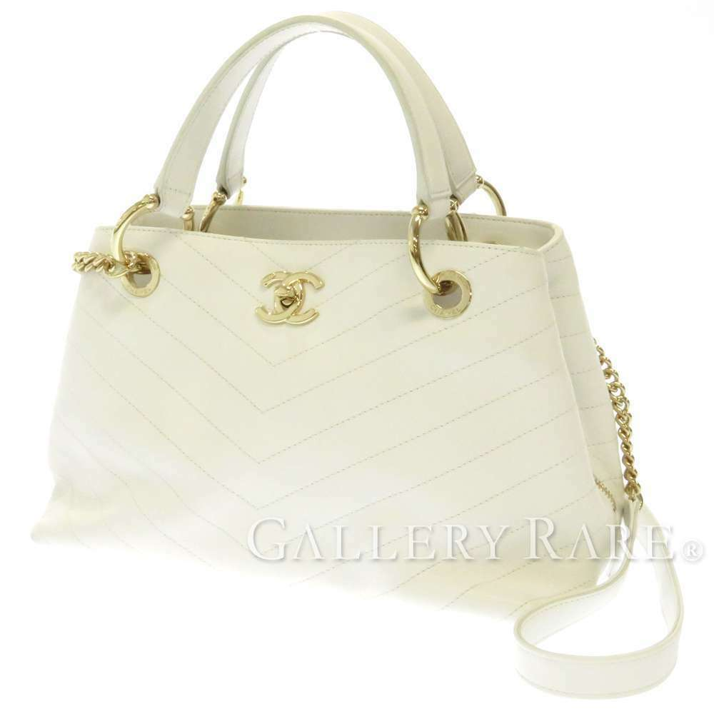 CHANEL Handbag Leather White Chevron V Stitch 2Way Shoulder Bag Italy Authentic
