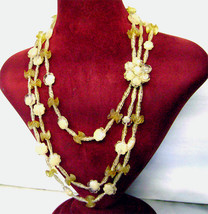 Vintage Yellow Celluloid Lucite Flower 3 Strand Bib Necklace Signed  - $38.00