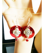 red sequin flower earrings, circle earrings, bead drops LONG dangles SPA... - $5.50