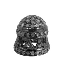Fine 925 Sterling Silver Pave Diamond Vintage Look Jewelry Bead Cap Find... - $149.29