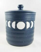 Stay Wild Moon Child Blue White Boho Moon Phase Ceramic Jar Cannister w/... - £19.12 GBP